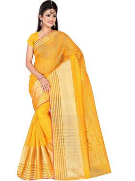 Adah Fashions Yellow South Silk Saree -888-140