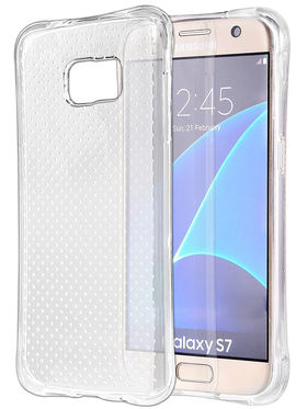Aeoss Transparent Flexible Soft TPU Drop Protection Shockproof Case Cover for Samsung S7 - White