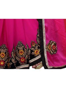 Khushali Fashion Embroidered Georgette Half & Half Saree_KF10