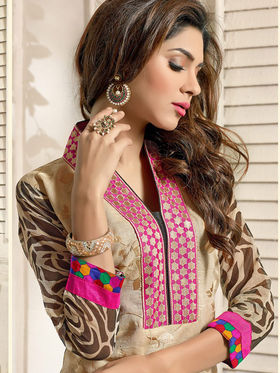 Adah Fashions Chanderi Embroidered Semi Stitched Salwar Kameez - Multicolour - 639-7001