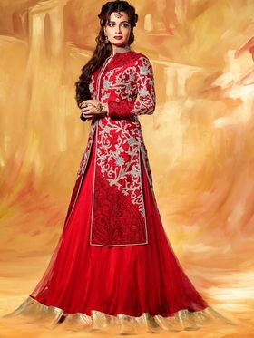 Adah Fashions Silk Embroidered Semi Stitched Suit - Red