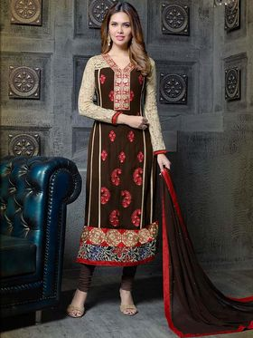 Adah Fashions Georgette Embroidered A-Line Salwar Suit - Brown - 683-315