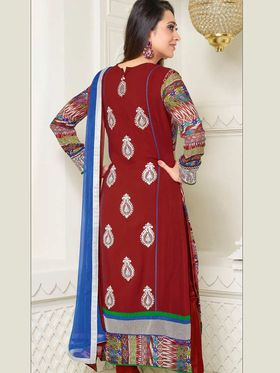 Adah Fashions Georgette Embroidered Semi Stitched Suit - Crimson Red