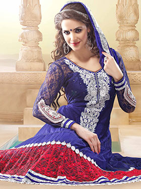 Adah Fashions Embroidered Net Semi-Stitched Anarkali Suit - Blue