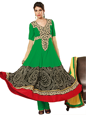 Adah Fashions Embroidered Georgette Semi-Stitched Anarkali Suit - Green & Black - 380-26