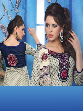 Adah Fashions Cotton Satin Embroidered Semi Stitched Dress Material - Off-White - 593-3811
