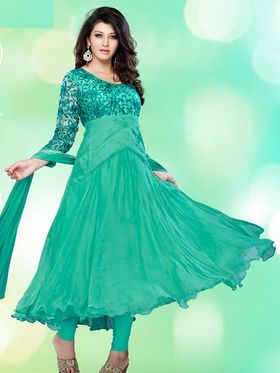 Adah Fashions Faux Georgette Embroidered Semi Stitched Anarkali Dress Material - Green_618-103