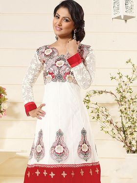 Adah Fashions Georgette Embroidered Semi Stitched Anarkali Dress Material - White & Red_626-1006