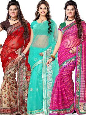Malveeka Pack of 3 Net Sarees - By Adah Fashions
