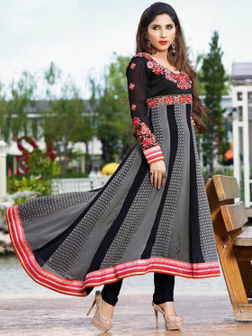 Adah Fashions Georgette Embroidered Semi Stitched Suits - Black - 555-216