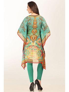 Admyrin Georgette Printed Kaftan - Orange & Green_AY-KR-V15-1347