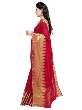 Admyrin Chanderi Plain Saree - Red - ADM-SR-SNH-10008
