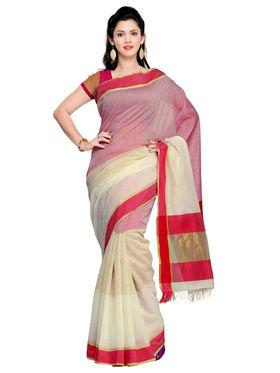 Admyrin Cotton Plain Saree - Multicolor - ADM-SR-SNH-10017