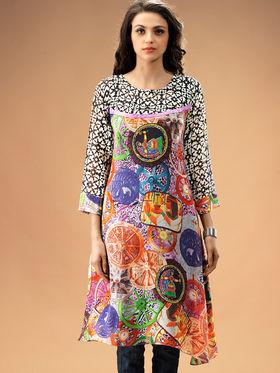 Admyrin Georgette Printed Kurti - Multicolor - 1193