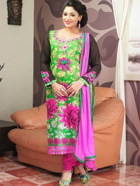 Admyrin Cambric Cotton Printed Dress Material - Green - 7011