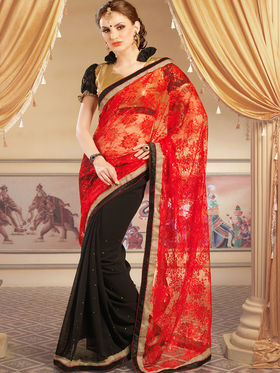 Admyrin Georgette+Net Jacquard Printed Saree - Black+Red - 1204