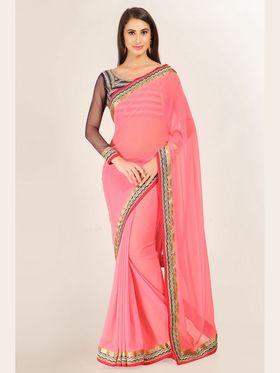 Admyrin Georgette+Shimmer Printed Saree - Pink - 16002