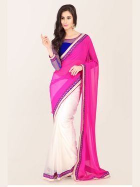 Admyrin Georgette Printed Saree - White+Pink - 16011