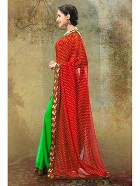 Admyrin Georgette Butti+Georgette Printed Saree - Green+Red - 58006