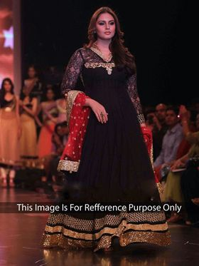 Arisha Georgette Embroidered Semi-Stitched Anarkali Suit - Black - 1045