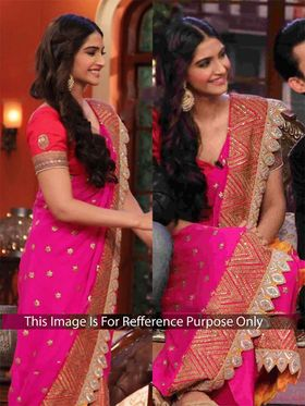 Arisha Georgette Embroidered Saree - Pink and Orange