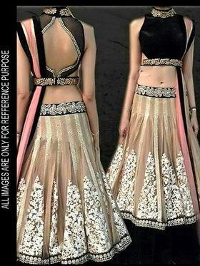 Arisha Net Embroidered Semi-Stitched Lehenga - Pink And Beige