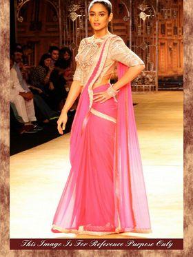 Arisha Georgette Embroidered Saree - Pink - 7000