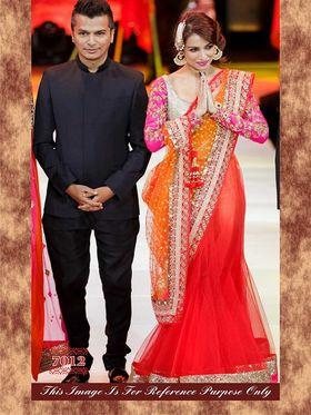 Arisha Net Embroidered Semi-Stitched Lehenga Saree - Pink And Orange