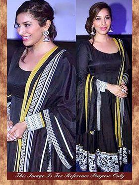 Arisha Georgette Embroidered Semi-Stitched Anarkali Suit - Black - 7023