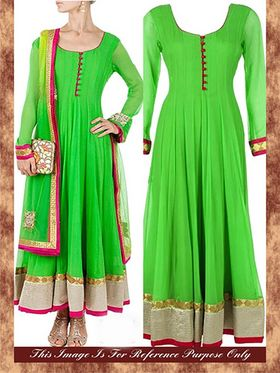 Arisha Georgette Embroidered Semi-Stitched Anarkali Suit - Green