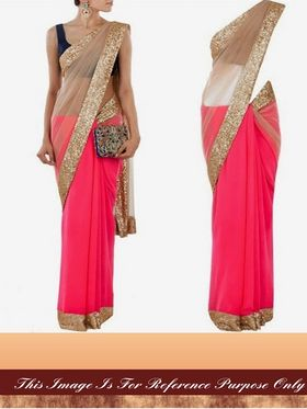 Arisha Net-Georgette Embroidered Saree - Pink And Beige