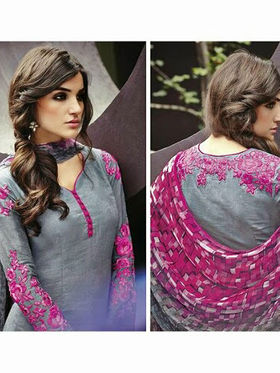 Arisha Enterprises Pure Cotton Embroidered Dress Material - Grey - ARA411