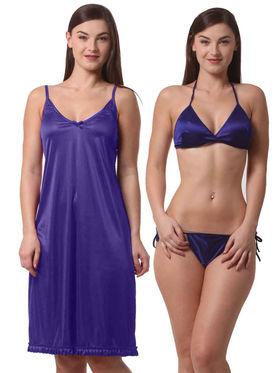Set Of 3 Being Fab Satin Lycra Solid Nightwear -fbl40