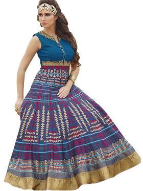 Styles Closet Embroidered Pure Bhagalpuri Semi-Stitched Blue Suit -Bnd-10016