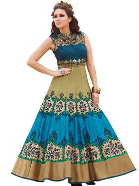Styles Closet Embroidered Bhagalpuri Semi-Stitched Blue Suit -Bnd-10022