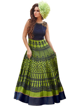 Styles Closet Embroidered Bhagalpuri Semi-Stitched Green Dress Material -Bnd-10024