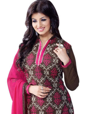 Styles Closet Embroidered Chanderi Unstitched Multicolor Dress Material -Bnd-5092