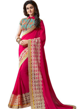 Styles Closet Embroidered Georgette  Pink Saree -Bnd-8240