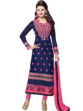 Styles Closet Embroidered Geogette Semi-Stitched Blue Suit -Bnd-Shv027