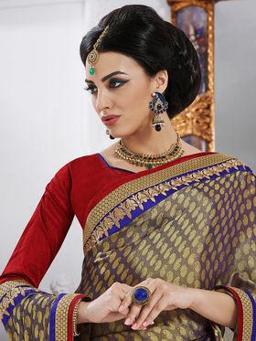 Bahubali Crepe Embroidered Saree - Gold - GA.50219