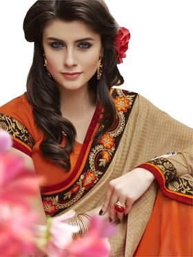 Bahubali Self Jacquard-Georgette Embroidered Saree - Beige And Orange