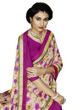 Bahubali Satin-Georgette Embroidered Saree - Multicolor - IC.40107