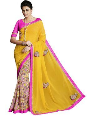 Bahubali Georgette Embroidered Saree - Yellow - IC.40109