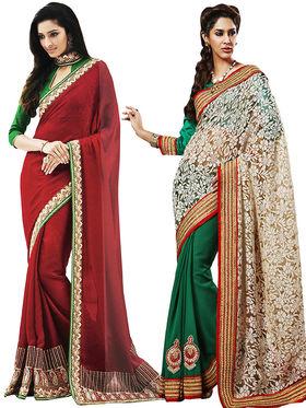 Combo of 2 Bahubali Embroidered Saree - CMB009