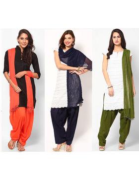 Combo of 3 Arisha Cotton Solid Salwar And Dupatta Set-CMBB20