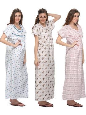 Pack of 3 Clovia Pure Cotton Printed Nighty -Combns001