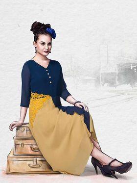 Viva N Diva Pure Viscose Georgette Floral Embroidery Kurtis -Chisel-36
