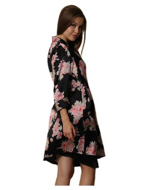 Clovia Satin Printed Nightwear - Black