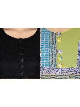 Pack of 2 Arisha Printed Georgette & Plain Net Front Open Kurtis -ars153