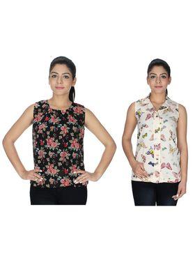 Pack of 2 Sai Arisha Printed Georgette & American Crepe Top -ars137